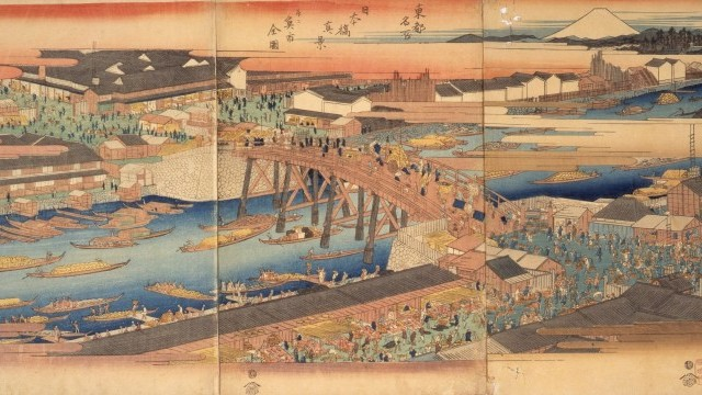 Toto meisho  Nihon-bashi shinkei narabini uoichi zenzu by Ichiryusai Hiroshige from the collection of Edo-Tokyo Museum