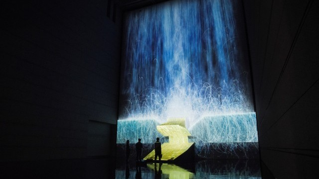 """Universe of Water Particles under Satellite's Gravity""  From the mission [SPACEXART]-beyond cosmologies exhibition at the Museum of Contemporary Art Tokyo in 2014. ©TADA(YUKAI)"