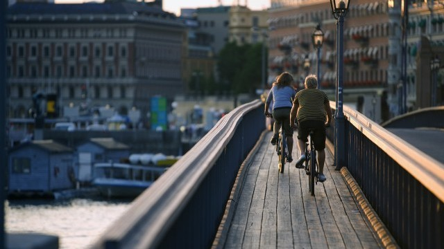 Biking in Stockholm at Sunrise Photo © Henrik Trygg, Courtesy of City of Stockholm