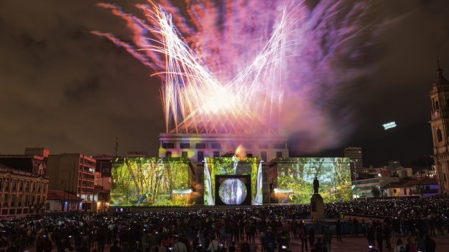 Lyon's Lumiere light show at Bogotá's Plaza de Bolivar as part of 2017's France-Colombia Year of Partnership Image courtesy of Secretariat of Culture, Recreation and Sport, City of Bogotá