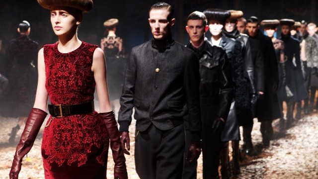 Finale of Alexander Mcqueen show at London Fashion Week February 2012 Photo © British Fashion Council