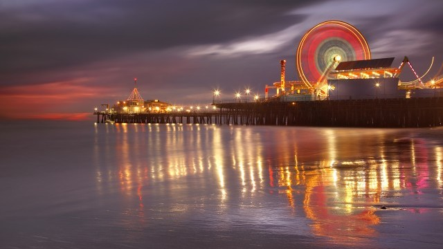 Santa Monica Pier at night Photo © Patrick Smith. Courtesy of Los Angeles County Arts Commission