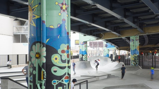 'The Saturn Clock' by Jovi Schnell, public art commission in SOMA West Skate Park Image courtesy of San Francisco Arts Commission © Ethan Kaplan